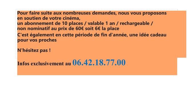 Carte soutien Cinéma